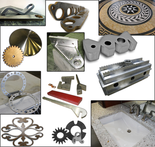 SAMPLES OF ABRASIVE WATERJET CUT PARTS